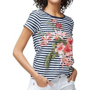 Tommy Bahama Orchid Black and White Stripes Top